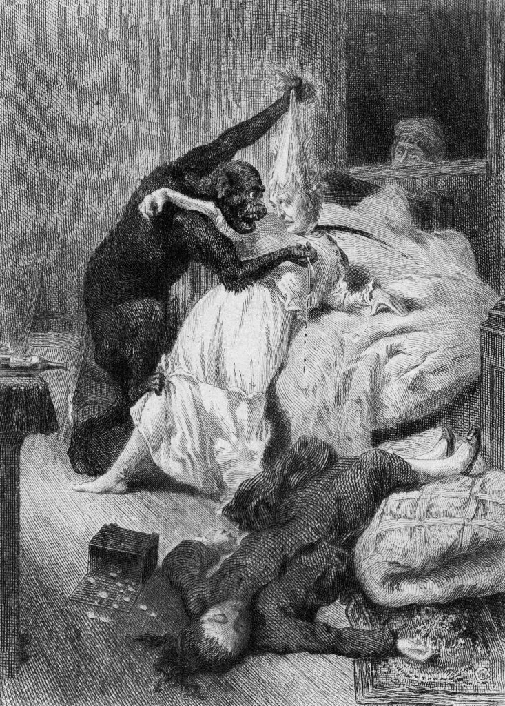An orangutan attacks a woman and pulls her hair in an illustration for the murder scene in Edgar Allan Poe's short story 'The Murders in the Rue Morgue,' early 1840s. A victim lies on the floor, and a witness watches through a window. (Photo by Kean Collection/Getty Images)