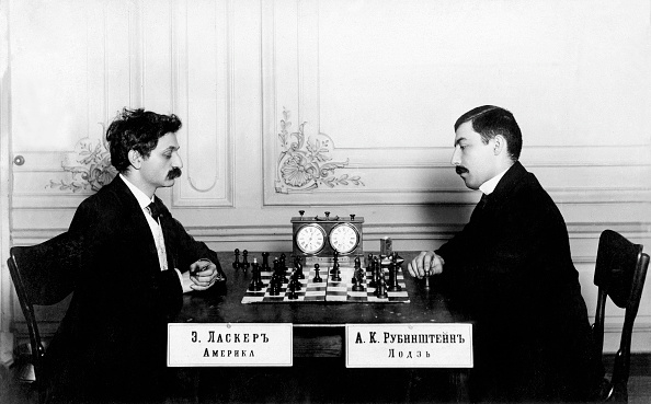 (GERMANY OUT) Akiba Kiwelowicz Rubinstein - Chess player, Poland *12.12.1882-15.03.1961+ - International Chess Congress in Saint Petersburg with Emanuel Lasker (l, *24.12.1868-11.01.1941, Grandmaster , Germany) - 1909 - Photographer: Karl Bulla - Published by: 'Berliner Illustrirte Zeitung' 13/1909 Vintage property of ullstein bild (Photo by Karl Bulla/ullstein bild via Getty Images)