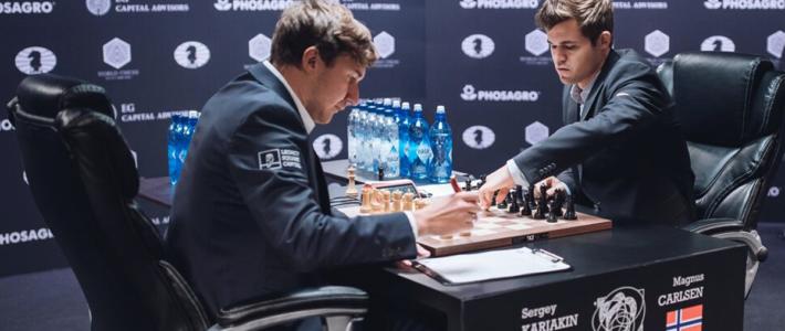 Carlsen y Karjakin llegan empatados a la última partida