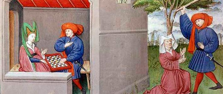 En el influyente Decamerón de Bocaccio, y también en su Filócolo, el ajedrez aparece en evidencia de su creciente práctica social